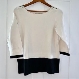 LOFT 100% cotton colorblock sweater, size medium